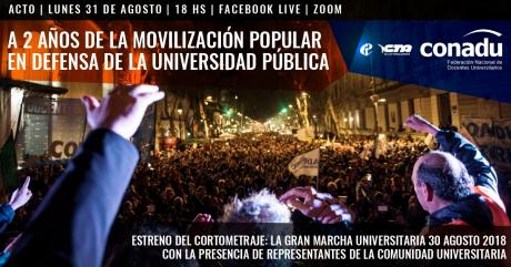 Flyer de CONADU. 2 años de la movilización popular en defensa de la Universidad Pública